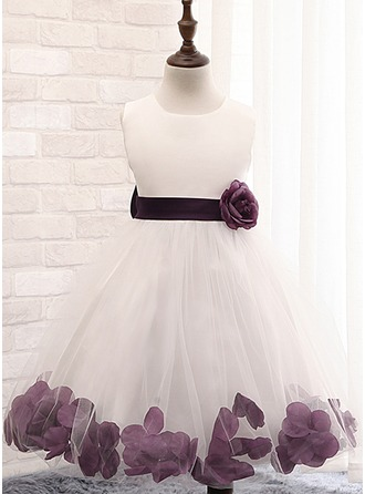 A-Line/Princess Knee-length Flower Girl Dress - Cotton Blends Sleeveless Scoop Neck With Flower(s)/Bow(s)