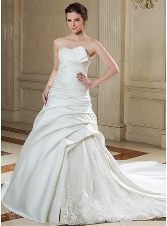 Ball-Gown Scalloped Neck Chapel Train Satin Organza Wedding Dress With Ruffle Lace Beading