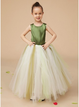A-Line/Princess Scoop Neck Floor-Length Charmeuse Tulle Flower Girl Dress With Bow(s)