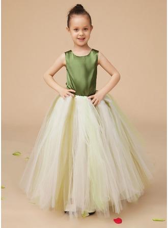 Corte A/Princesa Escote redondo Hasta el suelo Charmeuse Tul Vestido para niña de arras con Lazo(s)