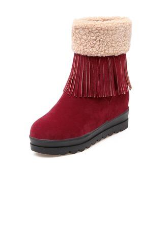 Femmes Suède Talon compensé Bottes Bottines avec Tassel chaussures