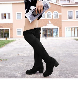 Women's Leatherette Chunky Heel Boots Over The Knee Boots With Lace-up shoes