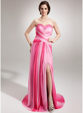 A-Line/Princess Sweetheart Court Train Chiffon Evening Dress With Ruffle Beading Split Front