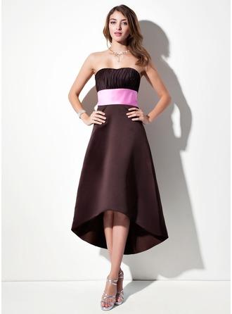 Empire Sweetheart Asymmetrical Satin Bridesmaid Dress With Ruffle Sash
