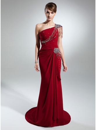 Trumpet/Mermaid One-Shoulder Court Train Chiffon Mother of the Bride Dress With Beading Cascading Ruffles