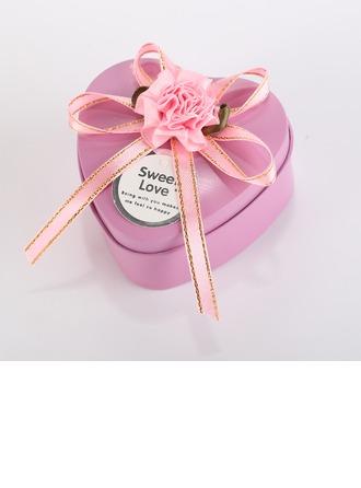 Amour doux Forme en cœurs Boîte cadeau en fer avec Rubans/Arc