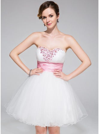 A-Line/Princess Sweetheart Short/Mini Tulle Charmeuse Homecoming Dress With Ruffle Sash Beading