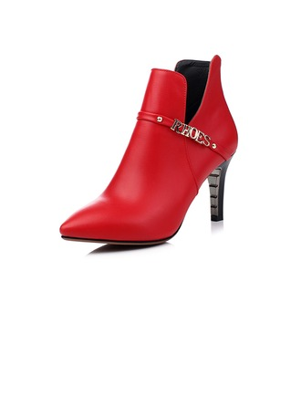 De mujer Cuero Tacón stilettos Botas al tobillo con Cadena zapatos