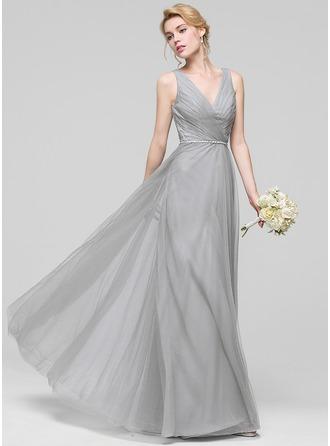 A-Linie/Princess-Linie V-Ausschnitt Bodenlang Tüll Brautjungfernkleid mit Rüschen Perlstickerei