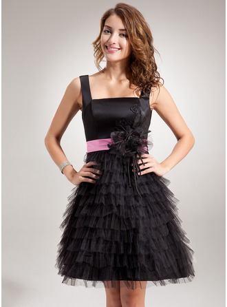 A-Line/Princess Square Neckline Short/Mini Tulle Charmeuse Homecoming Dress With Sash Appliques Lace Flower(s) Cascading Ruffles