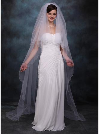2 couches Voiles de mariée chappelle avec Bord festonné