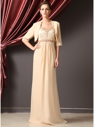 Sheath/Column Square Neckline Floor-Length Chiffon Charmeuse Mother of the Bride Dress With Ruffle Beading