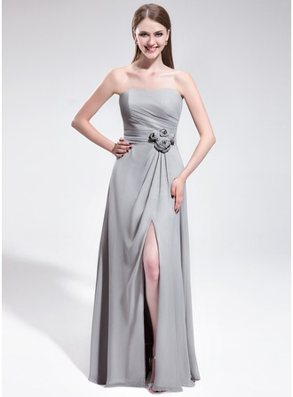 A-Line/Princess Sweetheart Floor-Length Chiffon Evening Dress With Flower(s) Split Front
