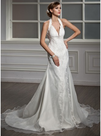 A-Line/Princess Halter Chapel Train Satin Organza Wedding Dress With Ruffle Lace Beading