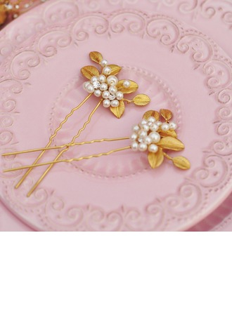Unique Imitation Pearls/Copper Hairpins (Sold in single piece)