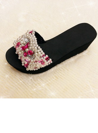 Women's Cloth Wedge Heel Sandals Slippers With Rhinestone shoes
