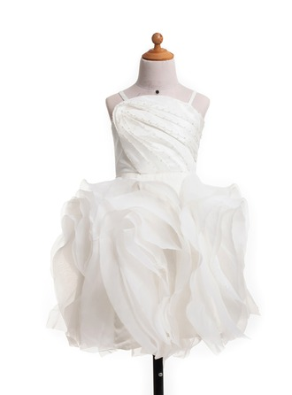 A-Line/Princess Knee-Length Satin Flower Girl Dress With Beading Cascading Ruffles