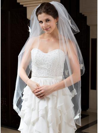 Three-tier Fingertip Bridal Veils With Pencil Edge