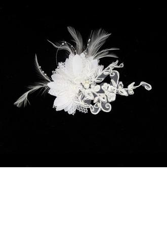 Magnifique Feather/Dentelle Chapeaux de type fascinator/Des peignes et barrettes avec Perle Vénitienne