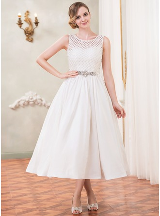 A-Line/Princess Scoop Neck Tea-Length Taffeta Lace Wedding Dress With Beading Sequins
