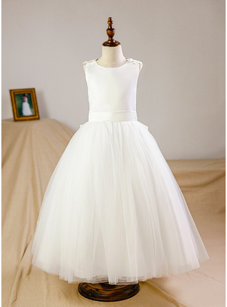 A-Line/Princess Floor-length Flower Girl Dress - Organza/Tulle Sleeveless Scoop Neck With Flower(s)