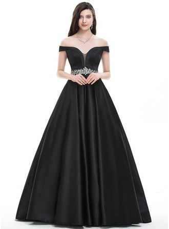 Платье для Балла Выкл-в-плечо Длина до пола Атлас Платье Для Выпускного Вечера с развальцовка