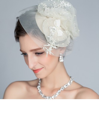 Special Rhinestone/Imitation Pearls/Artificial Silk Fascinators