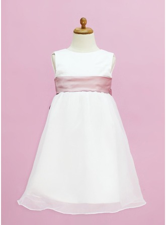 Empire Scoop Neck Floor-Length Organza Satin Flower Girl Dress With Sash Bow(s)
