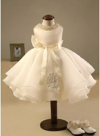 Robe Marquise Longueur genou Robes à Fleurs pour Filles - Polyester/Coton Sans manches Col rond avec Brodé/À ruban(s)