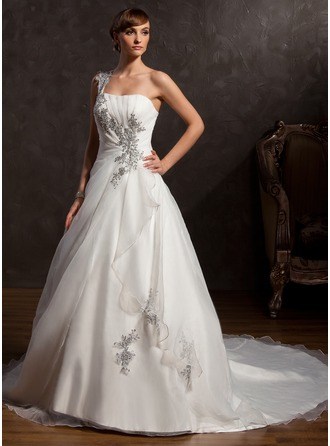 Ball-Gown One-Shoulder Chapel Train Organza Satin Wedding Dress With Ruffle Beading Appliques