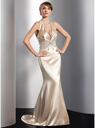 Trumpet/Mermaid Halter Sweep Train Charmeuse Evening Dress With Ruffle Beading Sequins