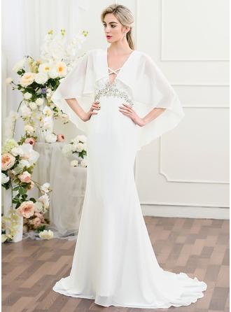 Trumpet/Mermaid V-neck Sweep Train Chiffon Wedding Dress With Ruffle Beading Sequins