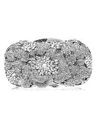 Elegante Cristal / Diamante/Bañado en plata Bolso Claqué/Funda de Monedas Para Bodas