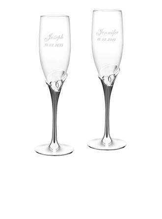 Personalized Heart Cut-out Crystal Toasting Flutes