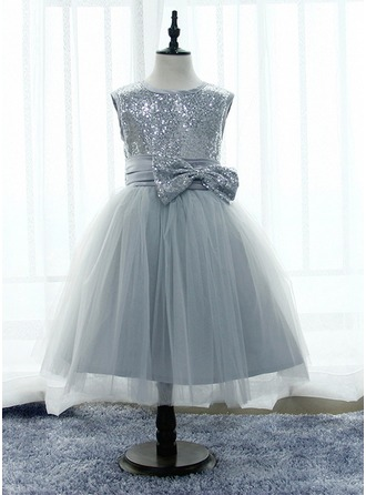 A-Line/Princess Knee-length Flower Girl Dress - Satin/Tulle/Lace/Sequined Sleeveless Scoop Neck With Sequins/Bow(s)