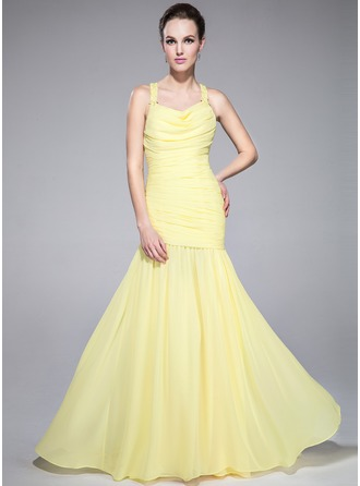 Раструб/Платье-русалка Провиснутый Sweep/Щетка поезд шифон Платье для Отдыха с Рябь Бисер блестками