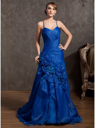 A-Line/Princess V-neck Court Train Organza Prom Dress With Ruffle Beading Flower(s)