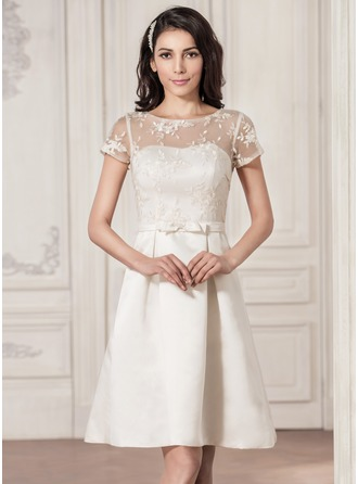 A-Line/Princess Scoop Neck Knee-Length Satin Lace Wedding Dress With Bow(s)