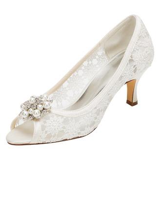Women's Silk Like Satin Stiletto Heel Peep Toe Pumps With Flower