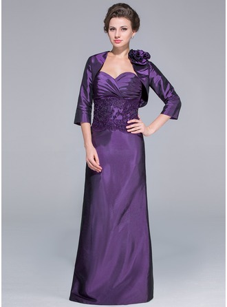 Sheath/Column Sweetheart Floor-Length Taffeta Mother of the Bride Dress With Lace Beading