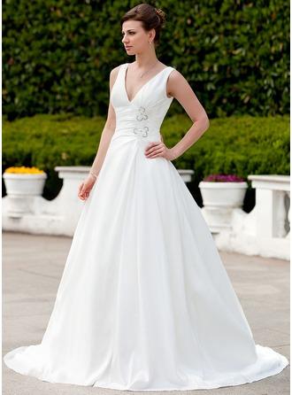 A-لاين أميرة V عنق ذيل كورت تفتا فستان الزفاف مع كشكش الخرز