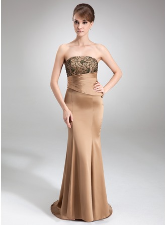 Trumpet/Mermaid Strapless Sweep Train Charmeuse Mother of the Bride Dress With Ruffle Lace