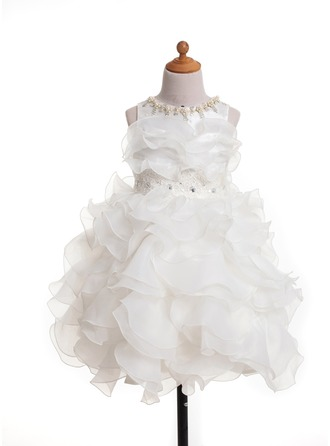 A-Line/Princess Scoop Neck Tea-Length Satin Flower Girl Dress With Lace Bow(s)