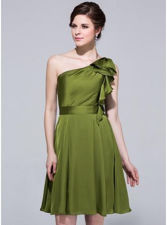 A-Line/Princess One-Shoulder Knee-Length Satin Chiffon Bridesmaid Dress With Cascading Ruffles