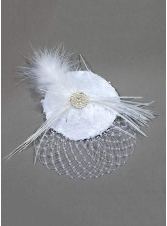 Satin/Netto med Fjer Fascinators
