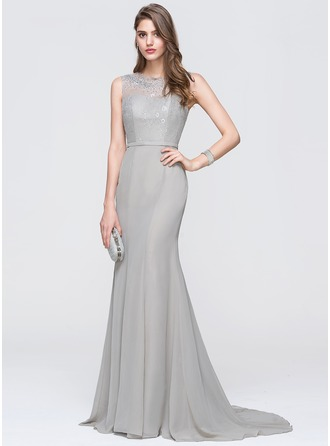 Trumpet/Mermaid Scoop Neck Sweep Train Chiffon Prom Dress With Beading