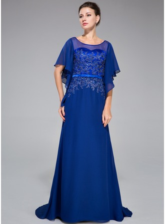 Trumpet/Mermaid Scoop Neck Sweep Train Chiffon Charmeuse Evening Dress With Lace Beading Sequins