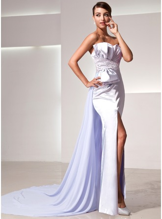Sheath/Column Sweetheart Watteau Train Charmeuse Evening Dress With Ruffle Beading Bow(s) Split Front