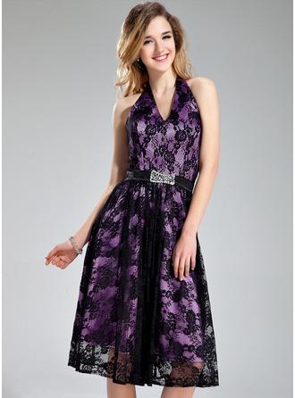A-Line/Princess Halter Knee-Length Charmeuse Lace Bridesmaid Dress With Beading Sequins