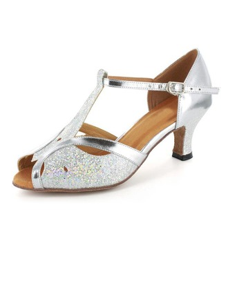 Women's Sparkling Glitter Patent Leather Heels Sandals Latin Ballroom Wedding Party With T-Strap Dance Shoes